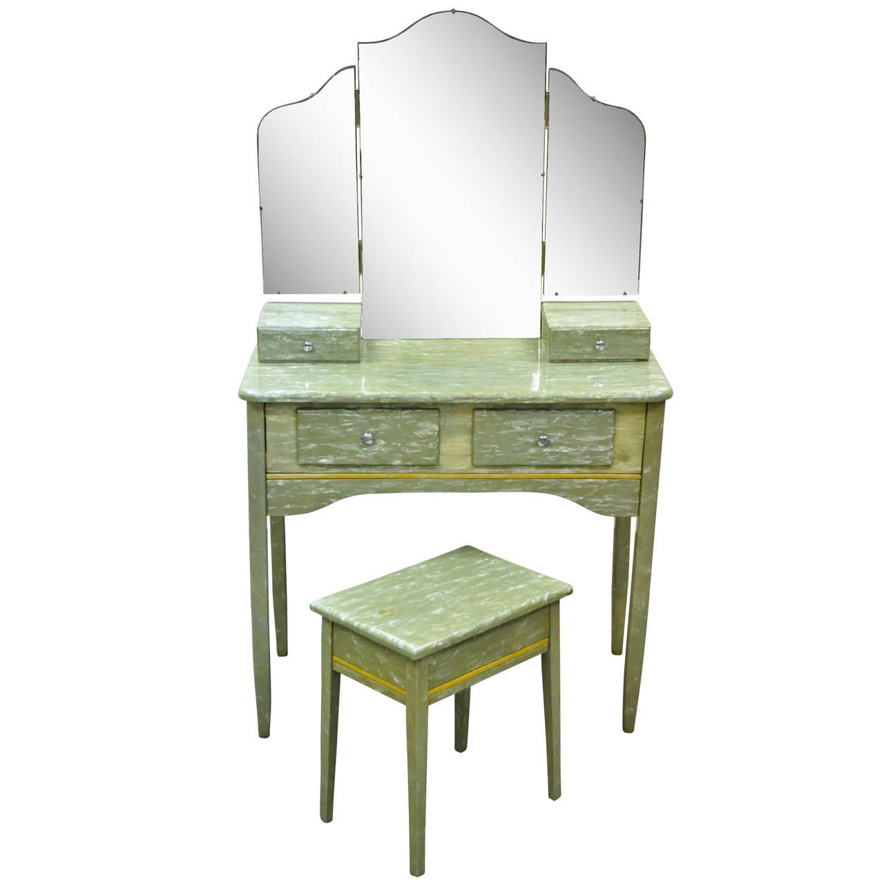 Rare Art Deco Green Celluloid Covered Vanity With Tri Fold Mirror And Bench  For Sale
