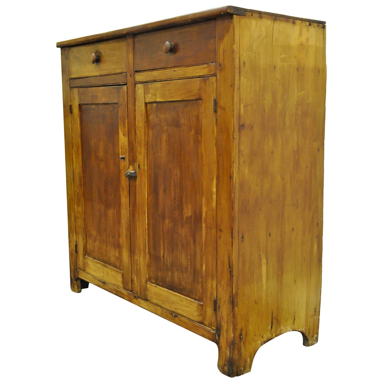 Primitive Rustic Pine Hand Dovetail Joined Jelly Cupboard Pantry Kitchen  Cabinet For Sale