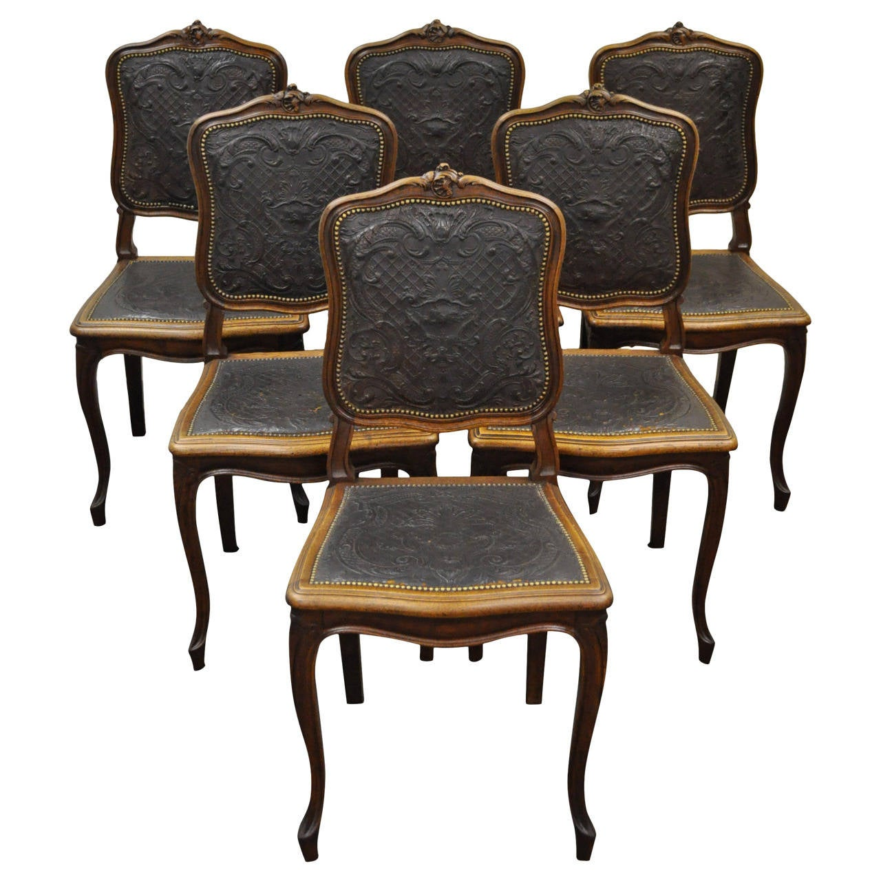 Set Of Six French Louis XV Style Walnut Dining Chairs With Embossed Leather  For Sale