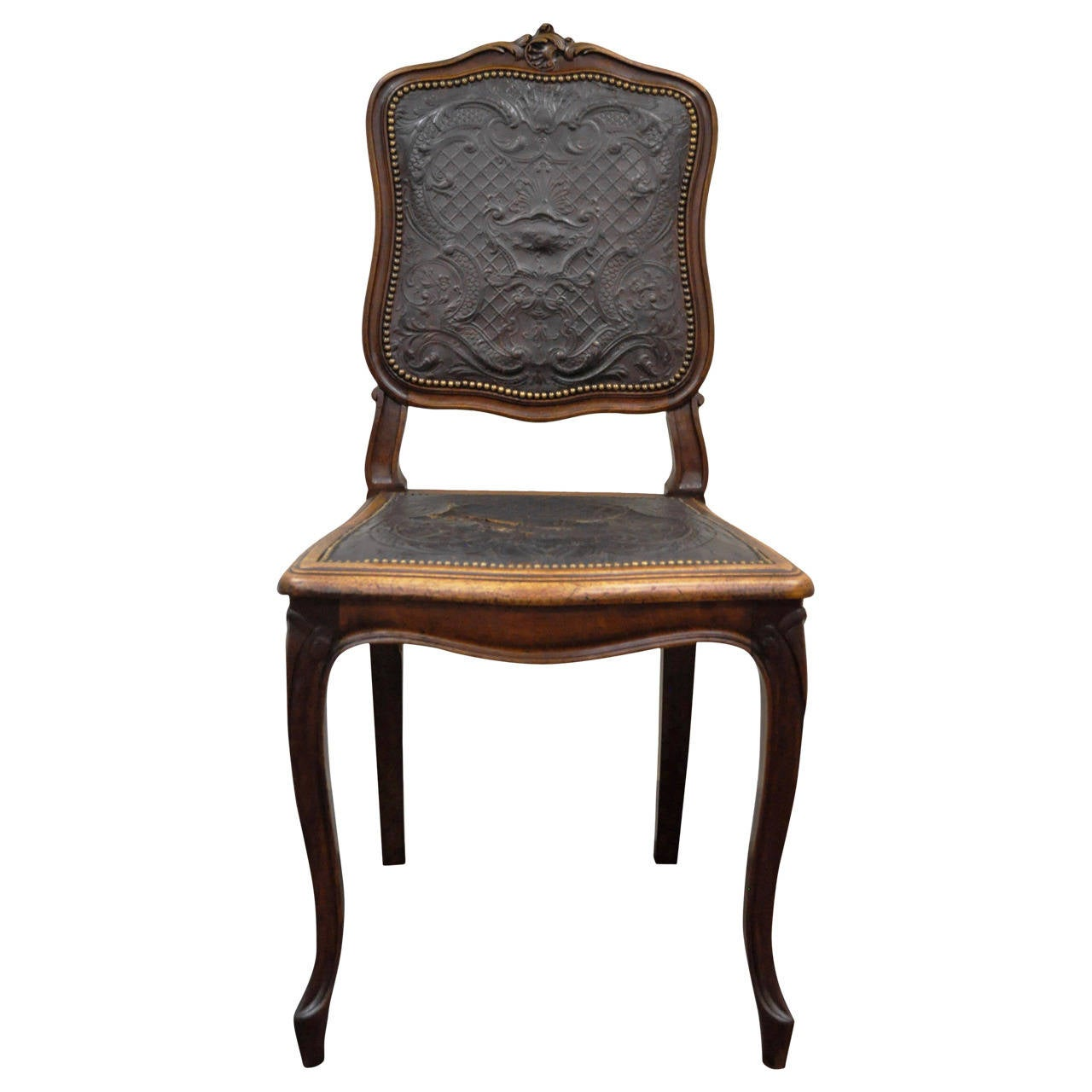 French Louis Xv Style Walnut Accent Chair With Embossed