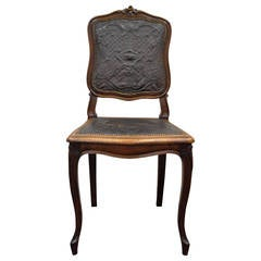 French Louis XV Style Walnut Accent Chair with Embossed Leather Back and Seat