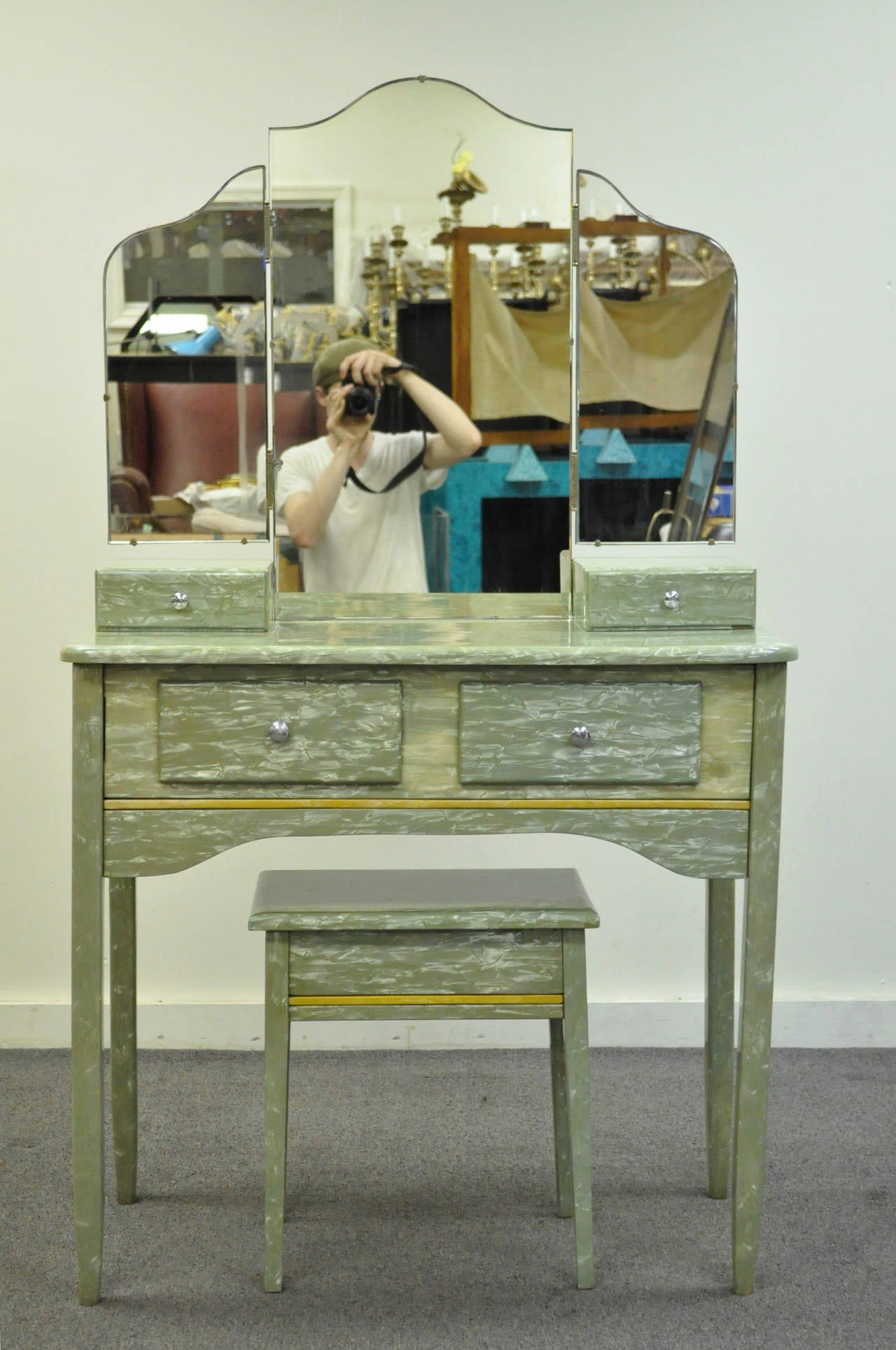 Rare Art Deco Green Celluloid Covered Vanity with Tri Fold Mirror and Bench 4