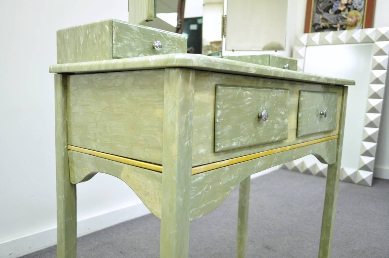 Plastic Rare Art Deco Green Celluloid Covered Vanity with Tri Fold Mirror and Bench