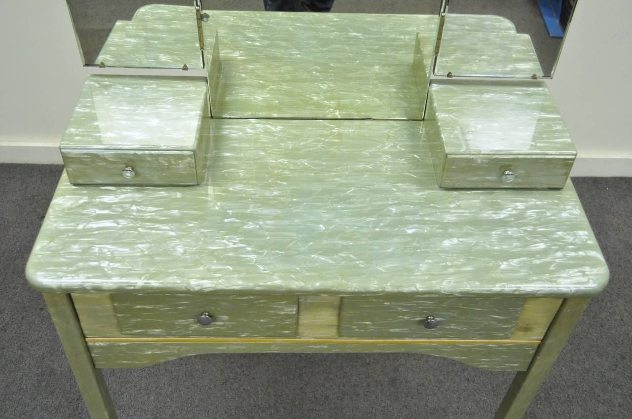 Rare Art Deco Green Celluloid Covered Vanity With Tri Fold Mirror And Bench For Sale At 1stdibs