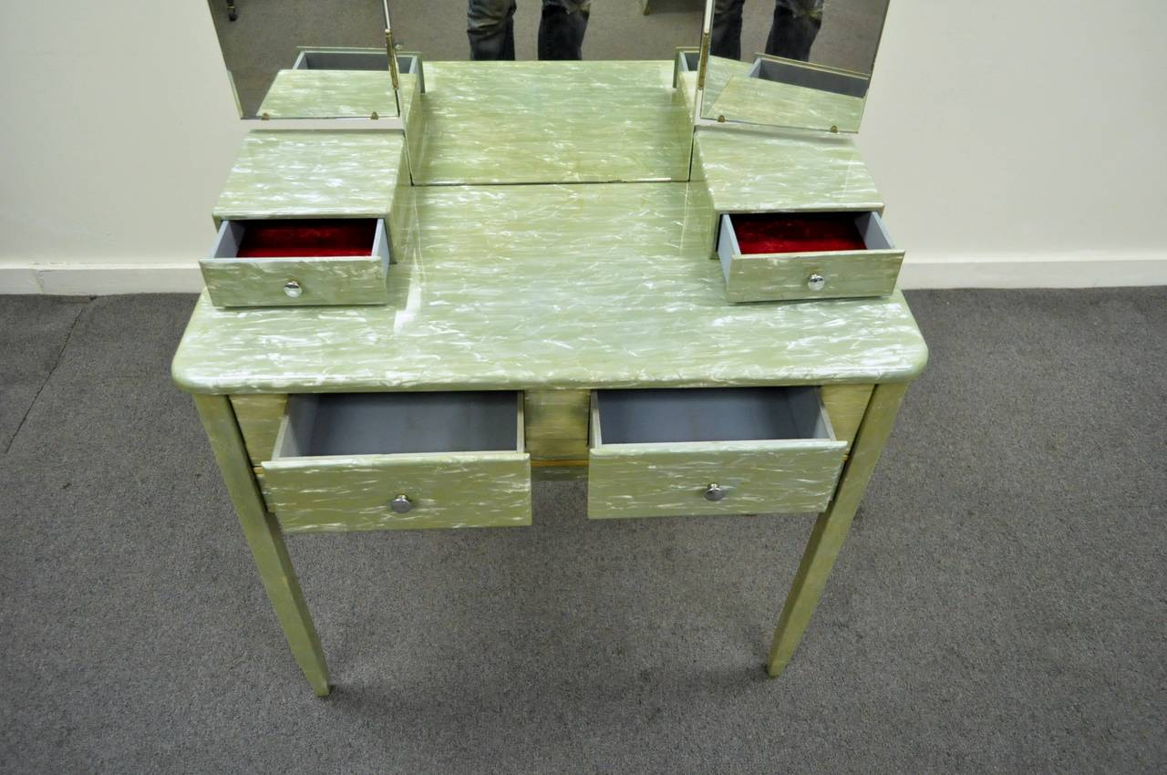 20th Century Rare Art Deco Green Celluloid Covered Vanity with Tri Fold Mirror and Bench