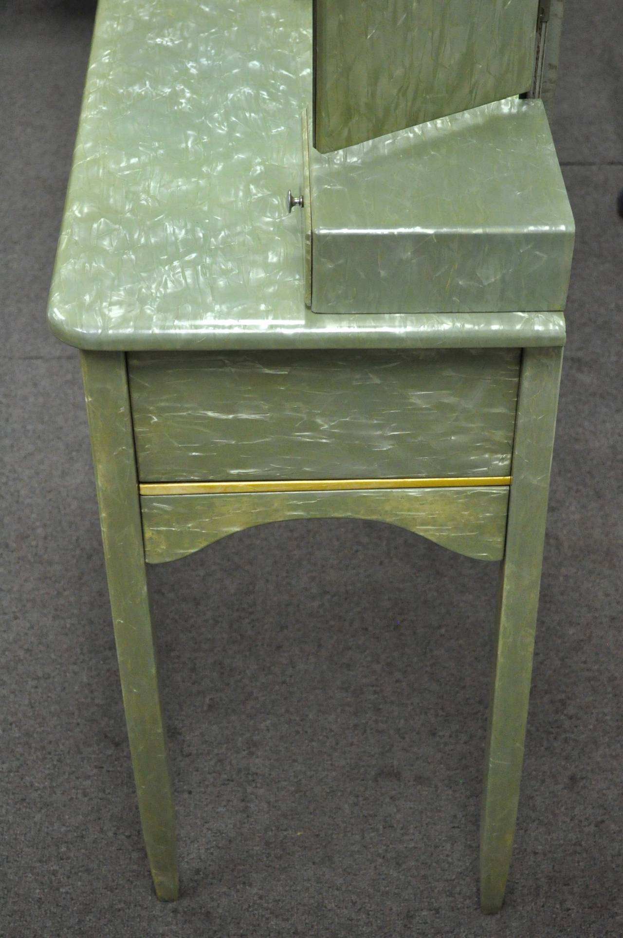 Rare Art Deco Green Celluloid Covered Vanity with Tri Fold Mirror and Bench 1