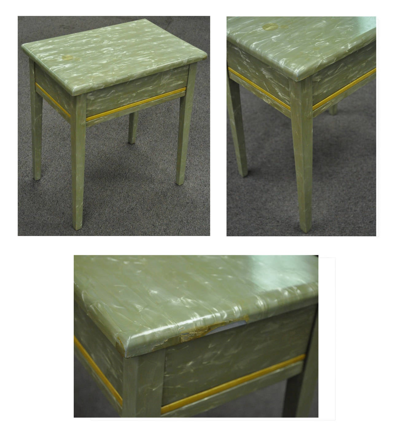 Rare Art Deco Green Celluloid Covered Vanity with Tri Fold Mirror and Bench 3