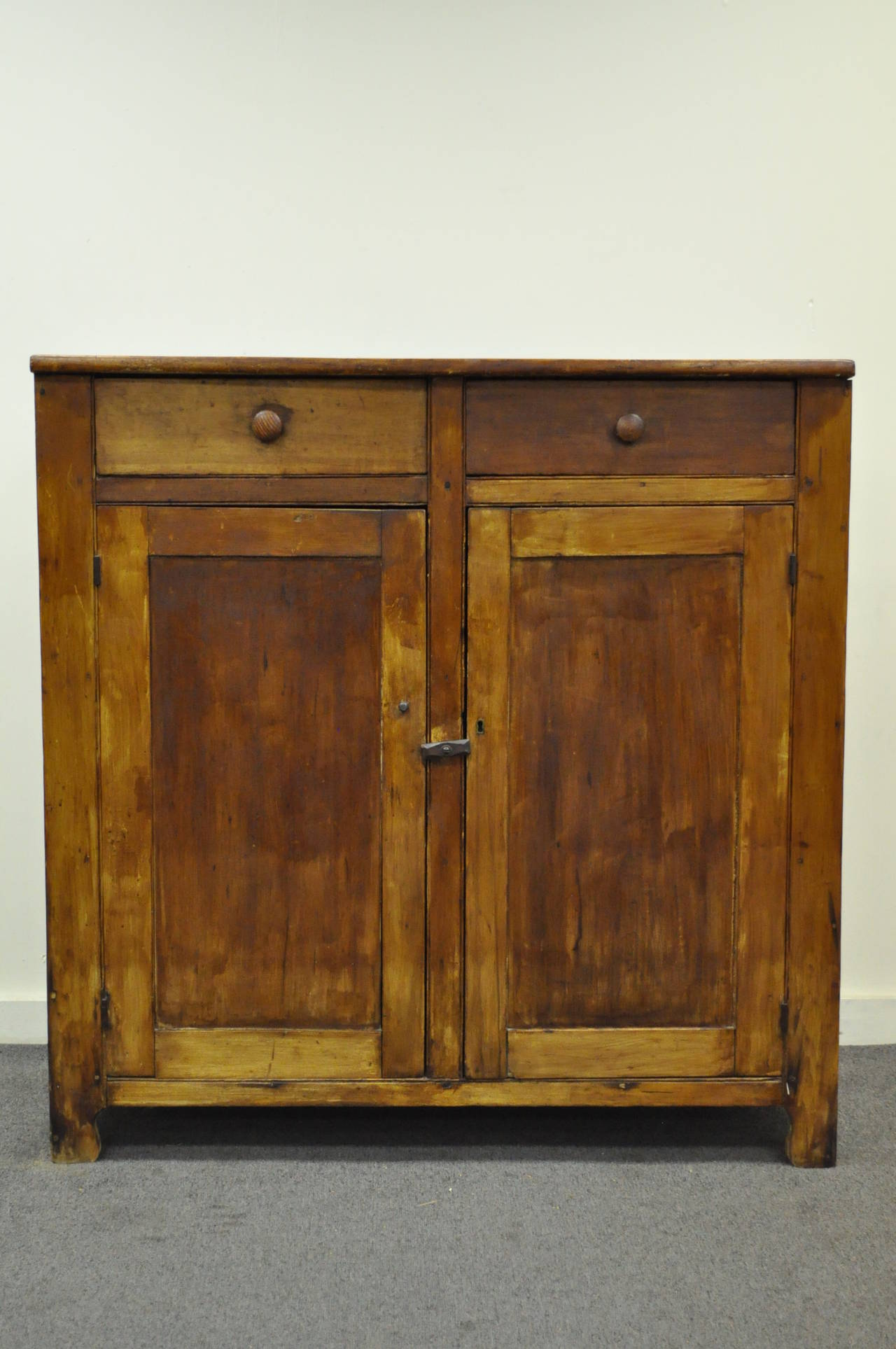 primitive rustic pine hand dovetail joined jelly cupboard pantry