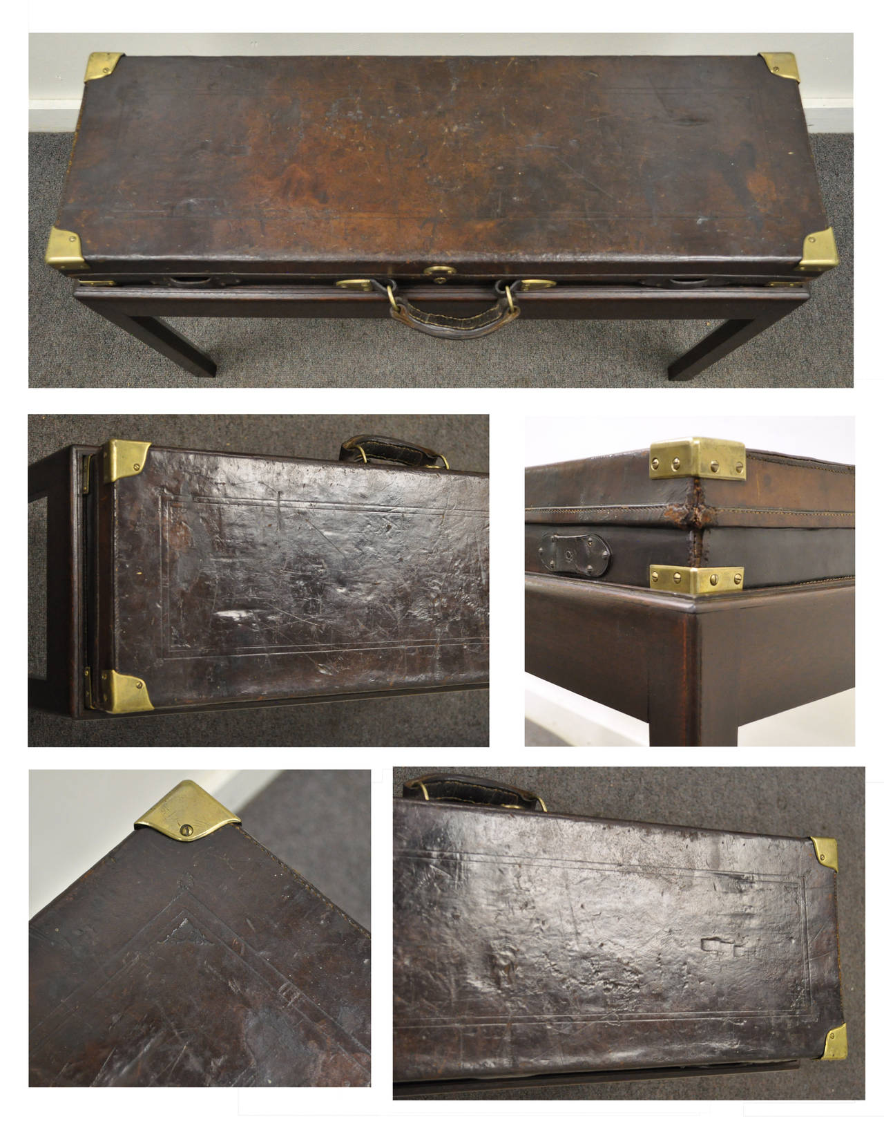English William Powell & Sons Leather Rifle Case on Custom Stand, circa 1900 For Sale 3