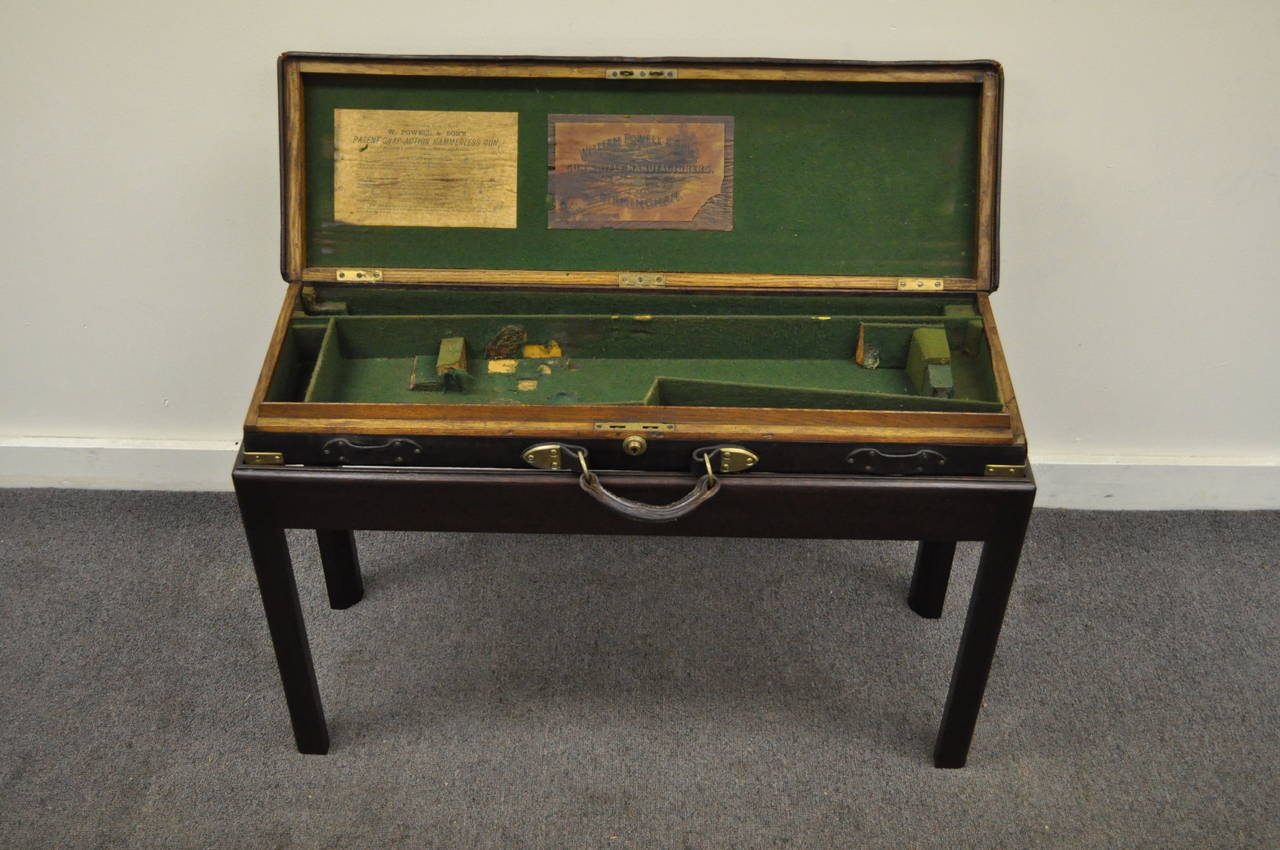 Early 20th Century English William Powell & Sons Leather Rifle Case on Custom Stand, circa 1900 For Sale