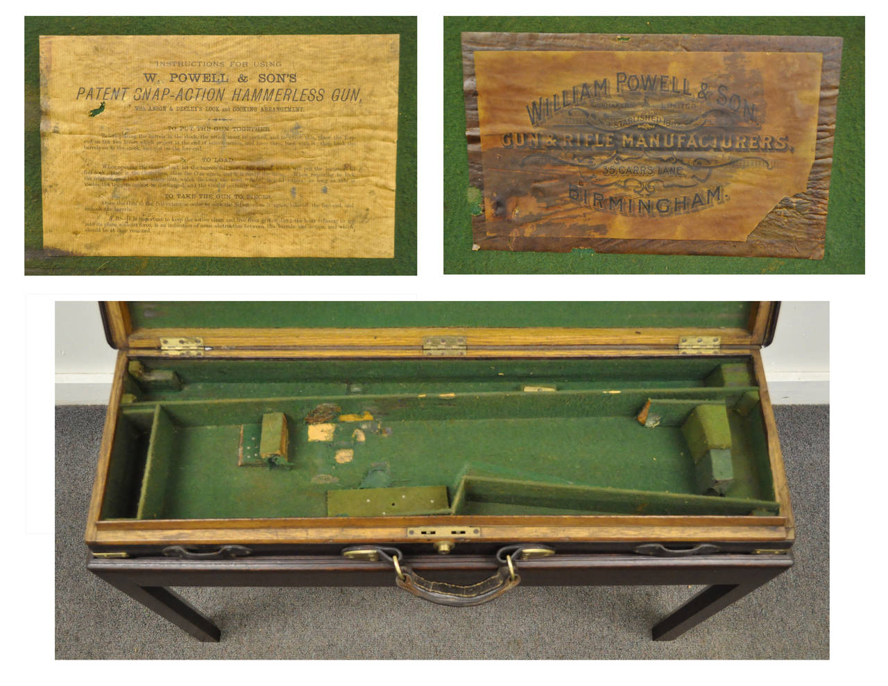 English William Powell & Sons Leather Rifle Case on Custom Stand, circa 1900 For Sale 4