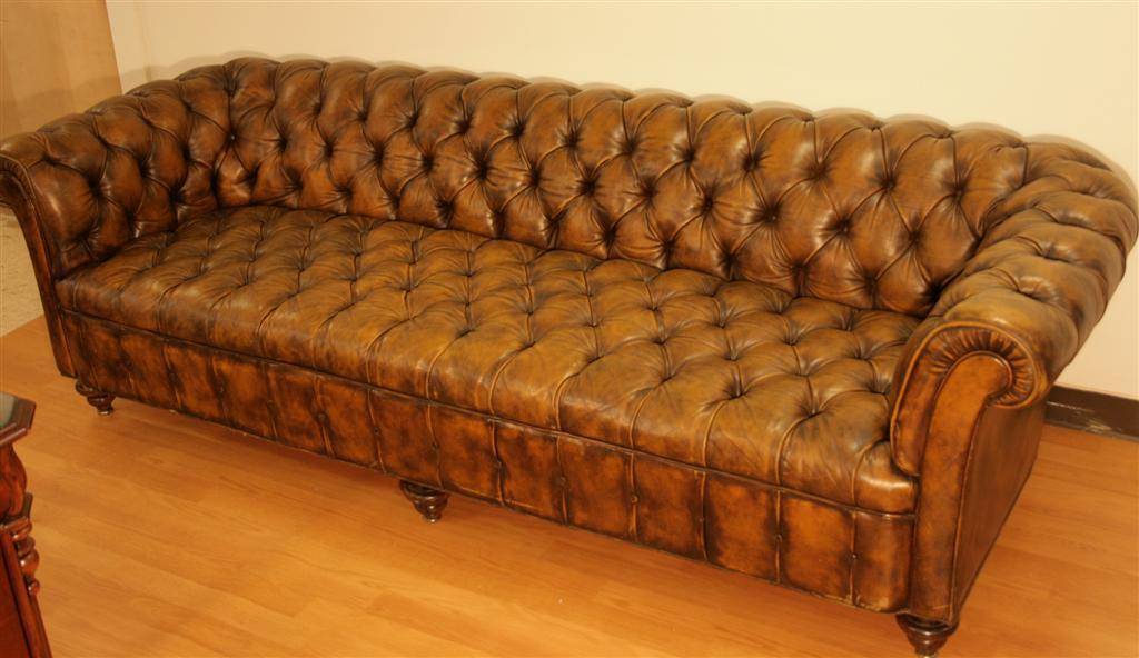 98 Inch Leather Tufted Chesterfield Sofa by The Schoonbeck Co at 1stdibs