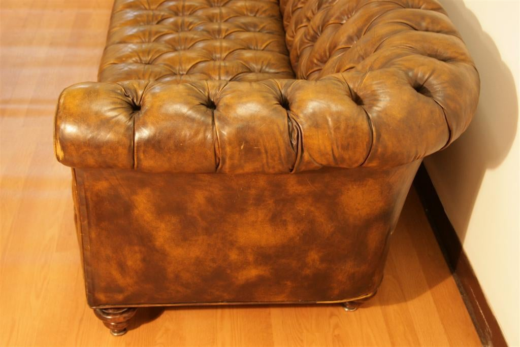 98 Inch Leather Tufted Chesterfield Sofa By The Schoonbeck