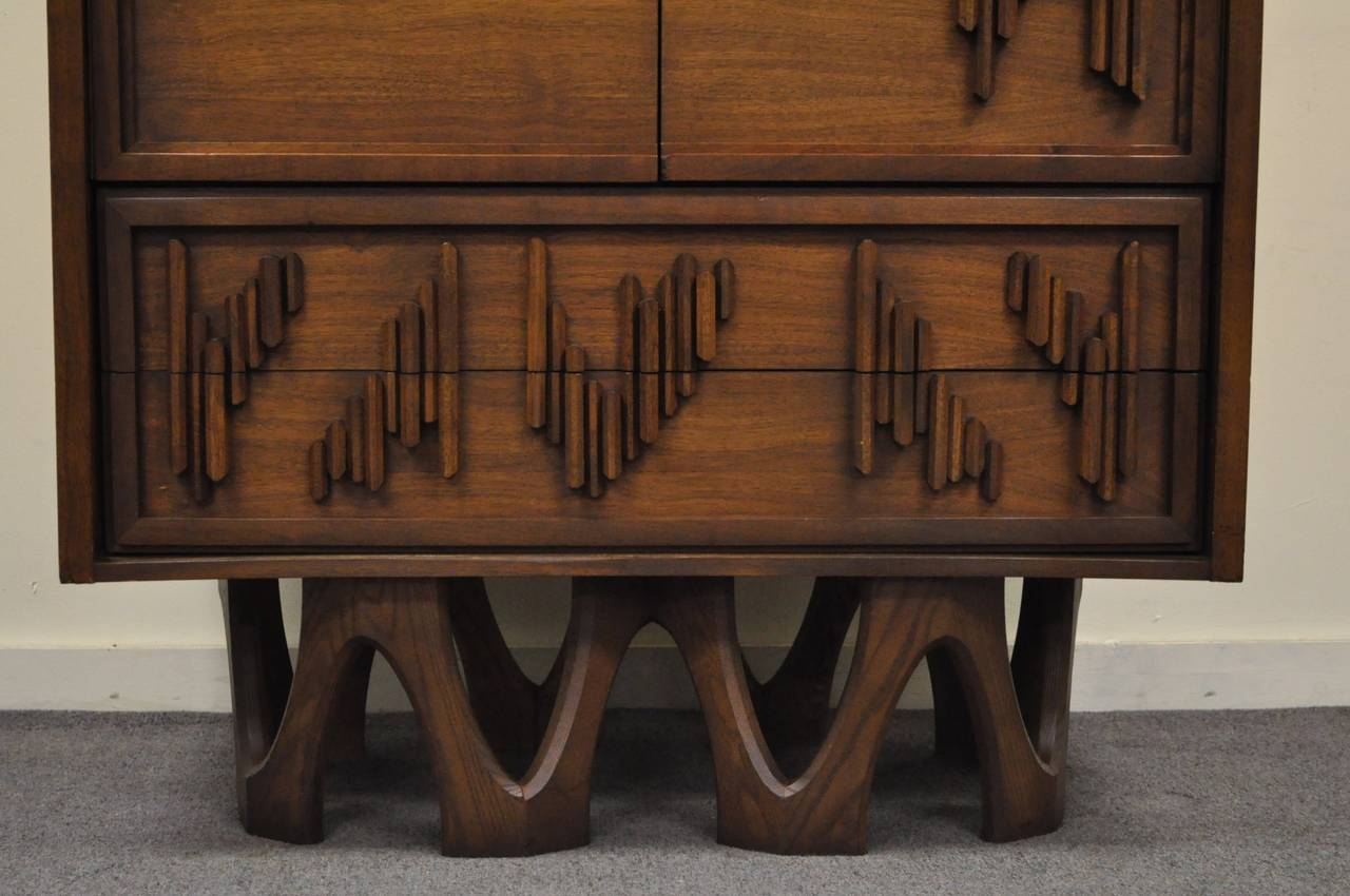 Canadian Mid Century Modern Brutalist Walnut Armoire Dresser Tall Chest after Paul Evans For Sale