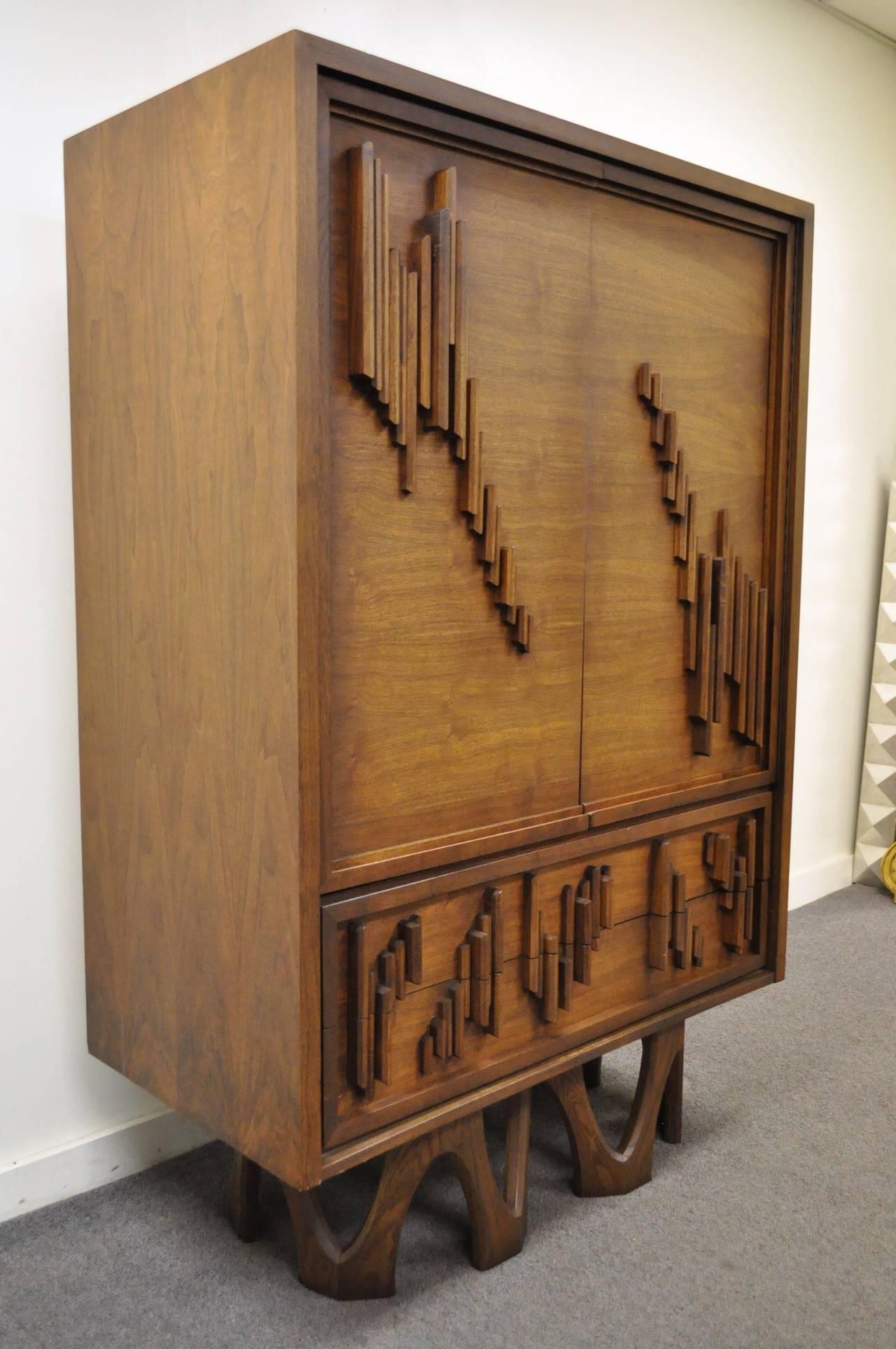 Mid Century Modern Brutalist Walnut Armoire Dresser Tall Chest after Paul Evans For Sale 4