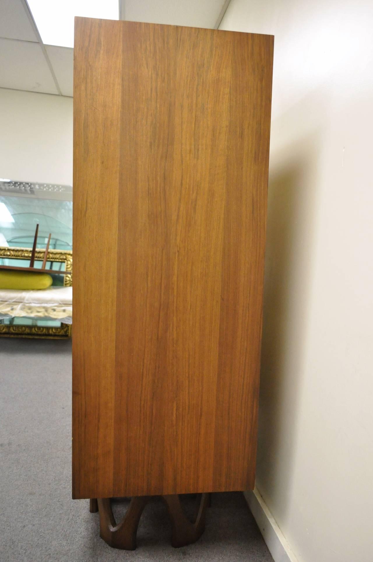 Mid Century Modern Brutalist Walnut Armoire Dresser Tall Chest after Paul Evans For Sale 1