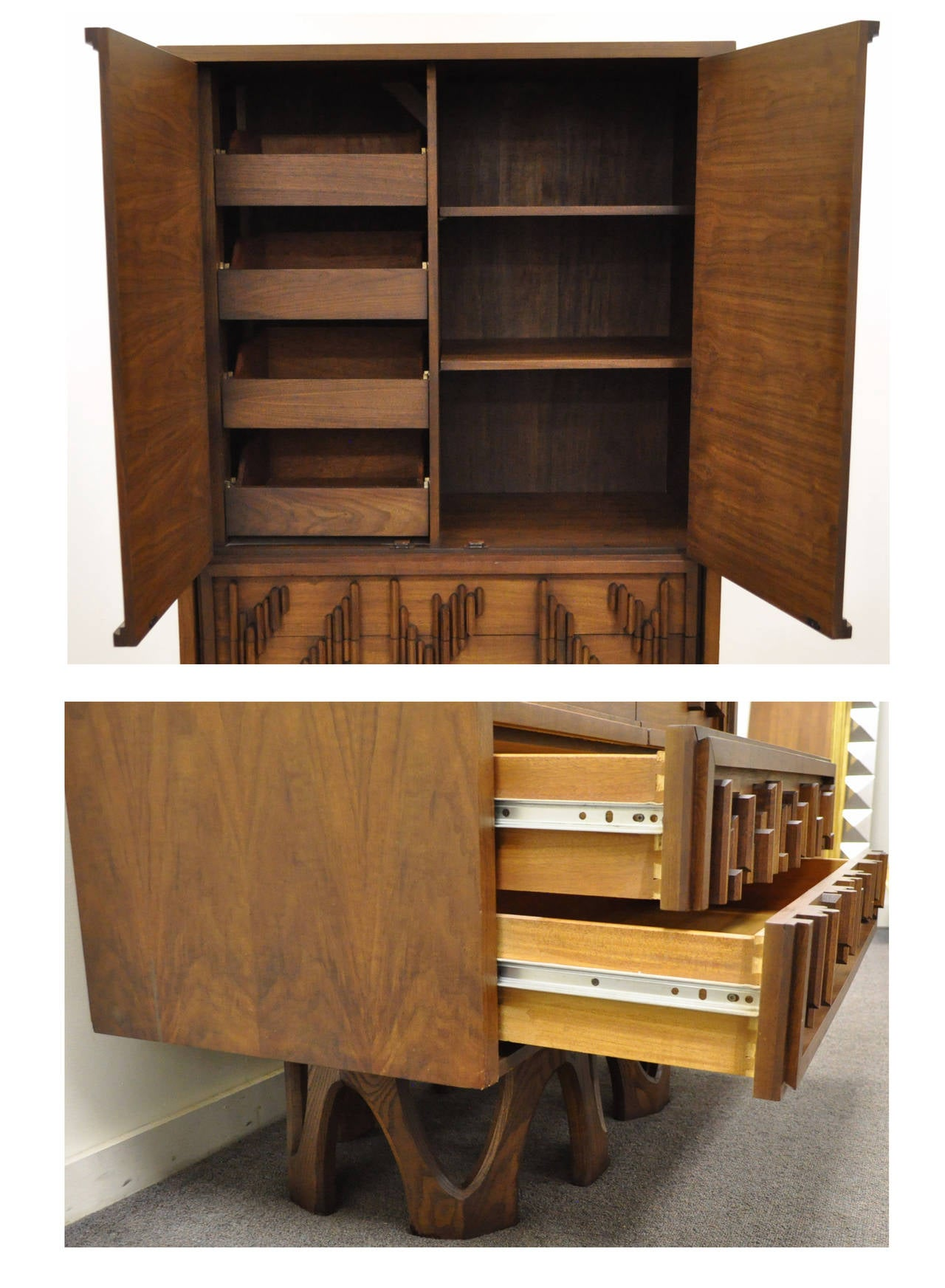 Veneer Mid Century Modern Brutalist Walnut Armoire Dresser Tall Chest after Paul Evans For Sale
