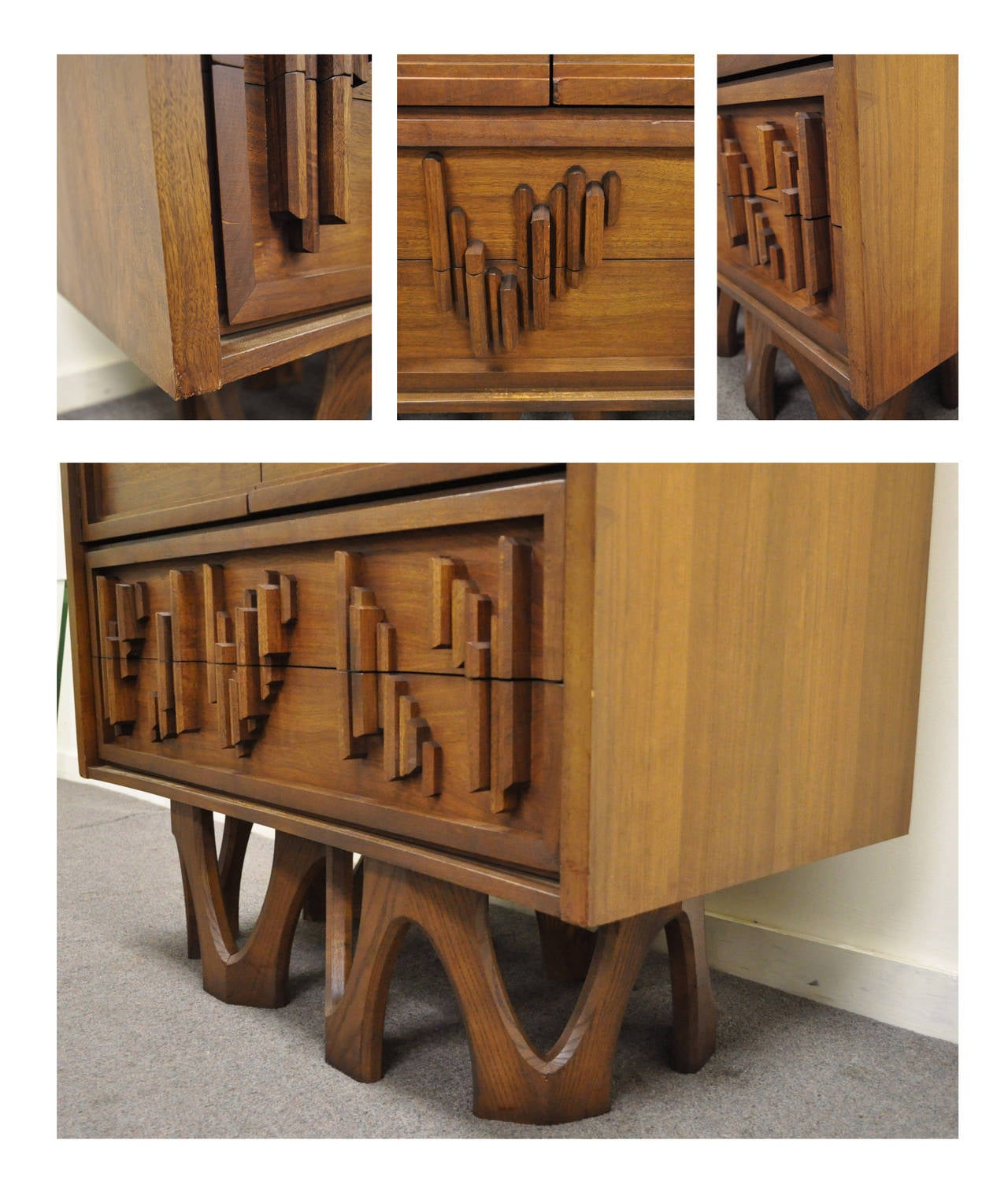 Late 20th Century Mid Century Modern Brutalist Walnut Armoire Dresser Tall Chest after Paul Evans For Sale