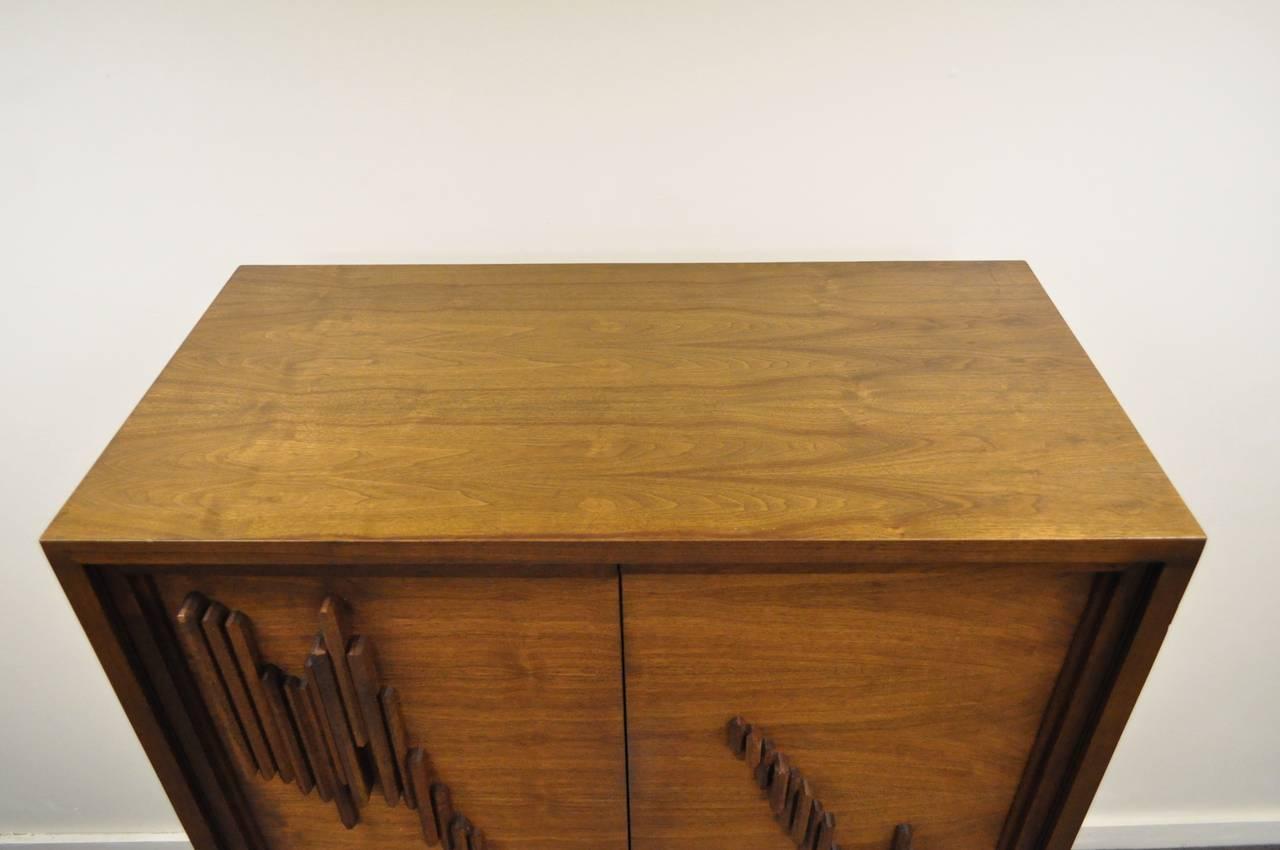 Mid Century Modern Brutalist Walnut Armoire Dresser Tall Chest after Paul Evans For Sale 2