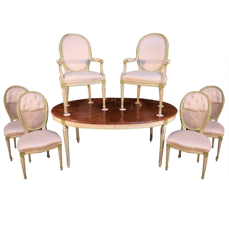 1960s Widdicomb French Parcel Gilt Dining Set 6 Chairs