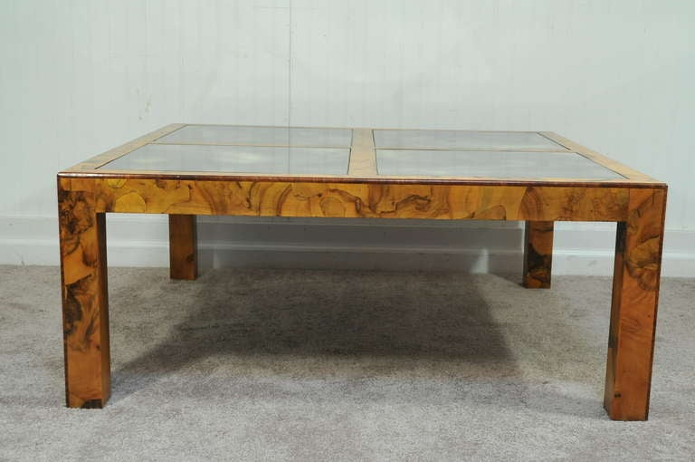 Burl Olive Wood Parsons Coffee Table Milo Baughman Attr At 1stdibs