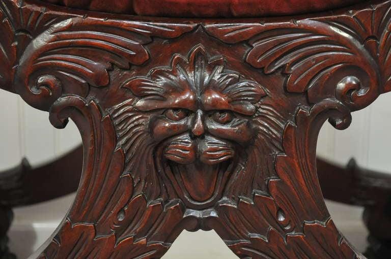 Renaissance Revival Mahogany North Wind Face Curule Throne Savonarola Chair  3 - Renaissance Revival Mahogany North Wind Face Curule Throne