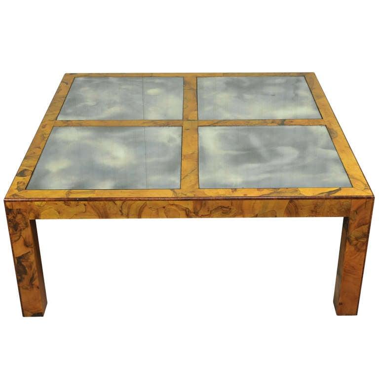 Burl Coffee Table Mid Century: Mid Century Modern Burl Olive Wood Parsons Coffee Table