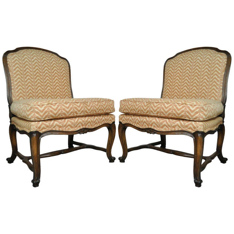 Pair Of Vintage French Louis Xv Style Carved Walnut