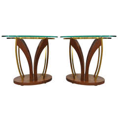Pair Mid Century Danish Modern Walnut Brass & Glass Side Tables - Kagan Style