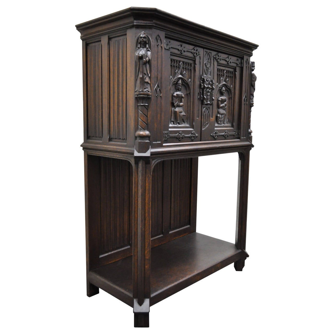 19th Century Belgian Carved Oak Dry Bar Cabinet Flemish Gothic Revival  Figural For Sale