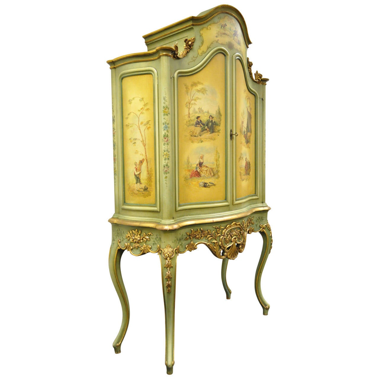 Large Vernis Martin curved glass Gilt Curio Cabinet at 1stdibs