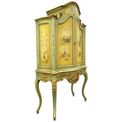 Antique French Louis XV Italian Rococo Style Hand Painted Green Cupboard Cabinet