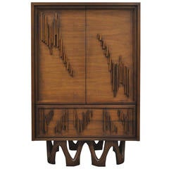 Mid-Century Modern Brutalist Teak and Walnut Armoire or Dresser after Paul Evans