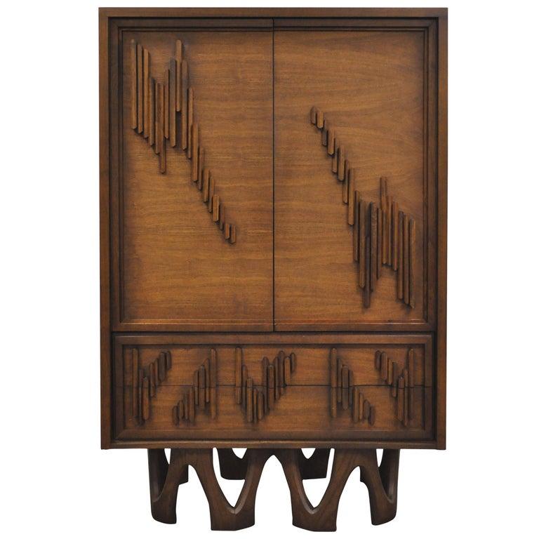 Mid Century Modern Brutalist Walnut Armoire Dresser Tall Chest after Paul Evans For Sale