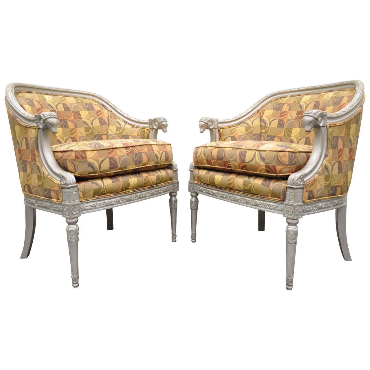Antique barrel chair - Pair Of Stunning Hollywood Regency Silver Rams Head Barrel Back Club Chairs 1