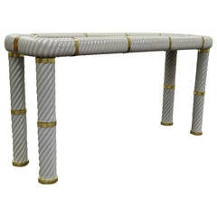 Remarkable Tommaso Barbi Porcelain, Brass and Glass Spiral Console or Sofa Table