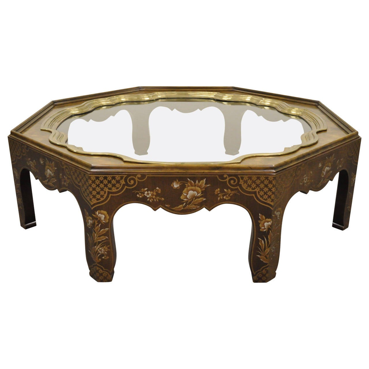 Octagonal Baker Furniture Co. Chinoiserie Painted Brass Tray Coffee Table