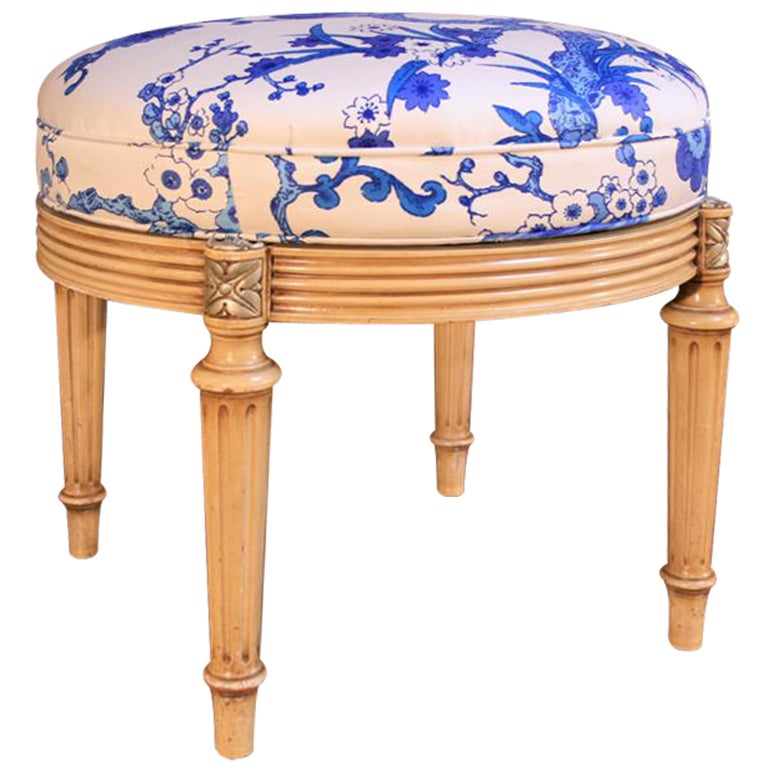 1960's French Style Paint Decorated Revolving Tabouret Stool For Sale