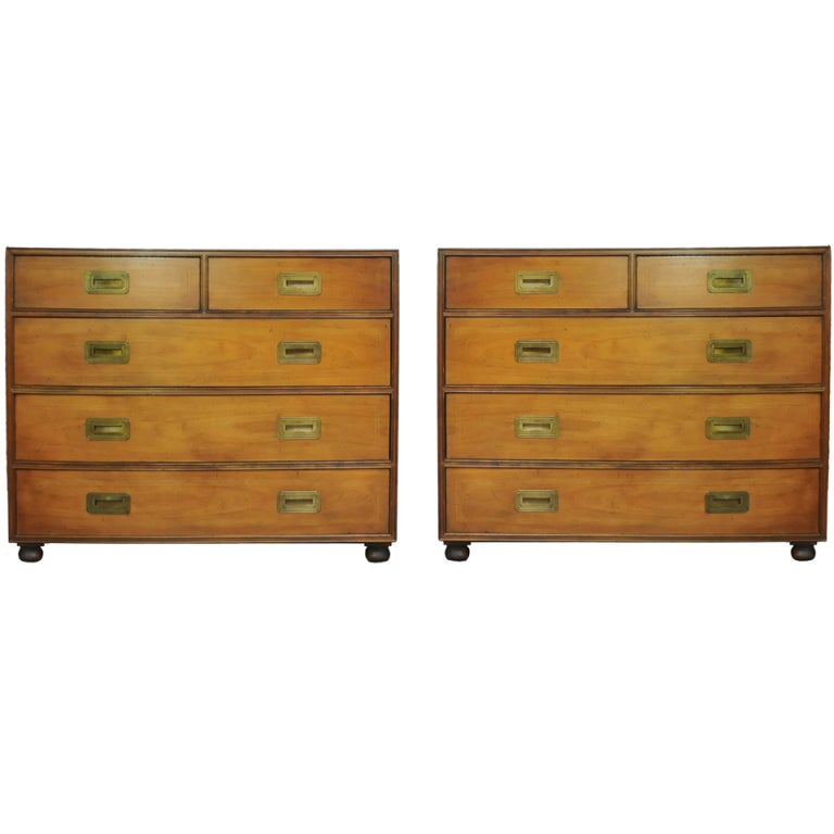 pair of vintage baker hollywood regency campaign bachelor chests at