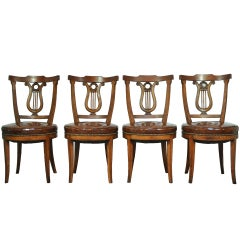 Set of Four Carved Harp Lyre Back Regency Neoclassical Style Dining Side Chairs