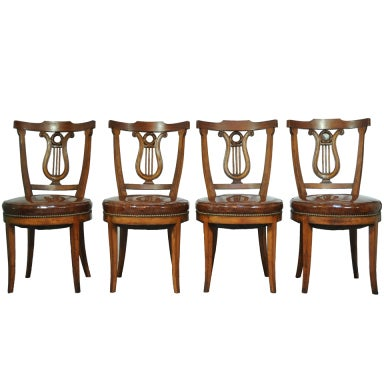 Miraculous Set Of Four Carved Harp Lyre Back Regency Neoclassical Style Ncnpc Chair Design For Home Ncnpcorg