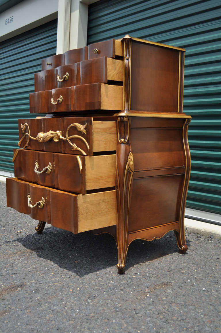 vintage art nouveau style solid cherry tall chest or