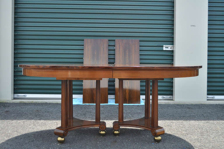 Rosewood Neoclassical French Empire Style Banquet Dining Table W 2 Leaves