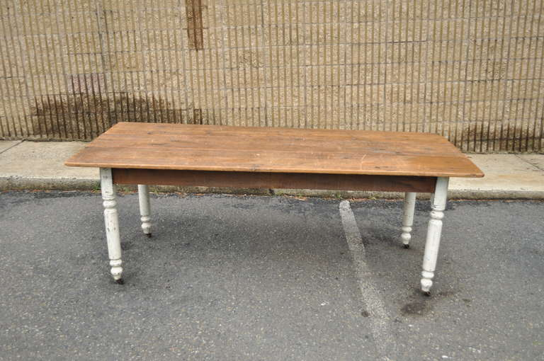 Wood american primitive rustic distress painted dining table image 3