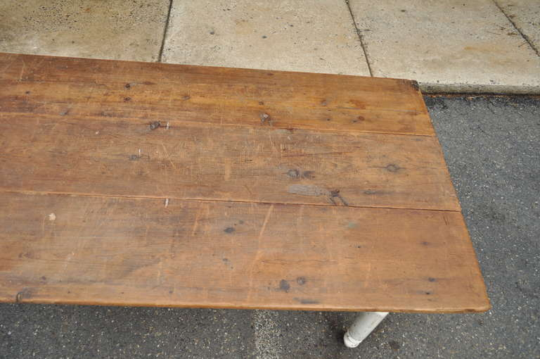 Wood American Primitive Rustic Distress Painted Dining Table Image 5