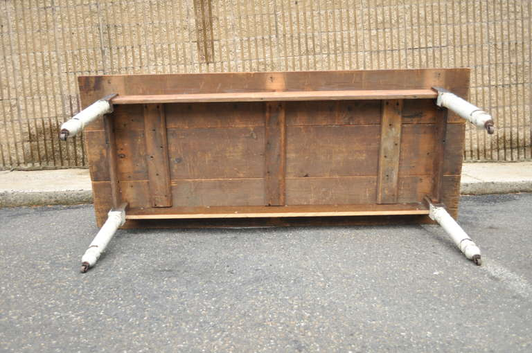 American Primitive Rustic Distress Painted Dining Table At 1stdibs