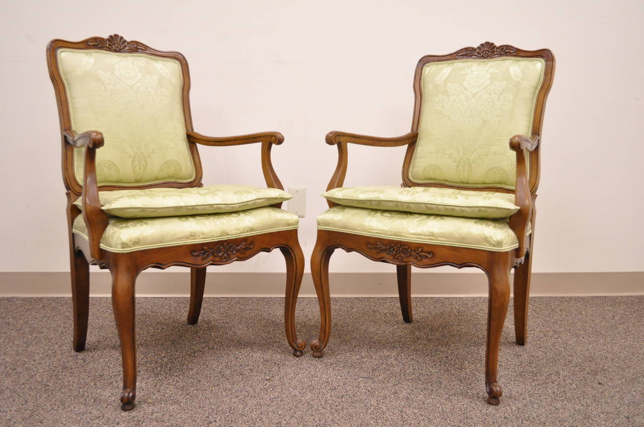 Set Of Eight French Country Louis Xv Style Cane Walnut Dining Chairs By Kindel