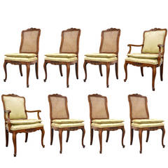Set of Eight French Country or Louis XV Style Cherry Dining Chairs by Kindel