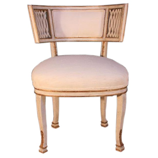 1960 39 s french painted parcel gilt side chair maison jansen for Sixties style chairs