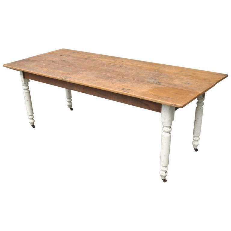 Plank Wood American Primitive Rustic Distress Painted Dining Table